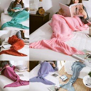 10 Farben Meerjungfrau Schwanzdecke Häkeln Meerjungfrau Decke für Erwachsene Super Soft All Saisons Schlafende Blankets DWA3823