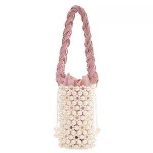 Luxury New Pearl Bucket Bag Donne Chic Handmade Clear Beaking Sera Sera Frizione Borse e Borse da donna Borse a tracolla Dinner C0225