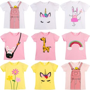 kids clothes girls giraffe Flowers print T-shirts children animal Cartoon Tops fashion 2021 summer Tees baby Clothing Z2414
