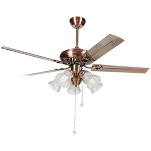 American Fan Lamp Dining Room Bedroom Living Room Home Ceiling Fan Lights Led Simple Retro Iron Leaf Electric Lamp