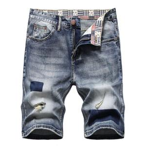 Masculino designer impresso denim shorts verão bolso grande tamanho casual rasgado buracos angustiados buracos homens jeans slim fit homens shorts shorts d663