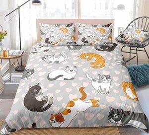 Комплекты постельного белья Cat Pink Love Doughet Cover набор королева мультфильм постельное белье на животных кровать набор домашних слоев постельного белья 3шт постельное белье для детей