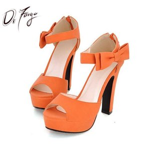 Drfargo mariposa nudo arco bomba verano peep toe tobillo correa naranja dulce dulce grueso tacón sandalias plataforma dama mujer zapatos