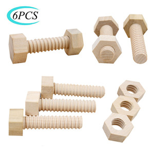 Early Education Educational Blocks Screw Nut Assembling Wooden Toy Solid Wood Hands-On Teaching Aid For Child