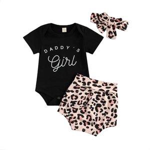 2021 Infant Baby Girls Manga corta Romper + Shorts + Bow Headband, Leopard Print Daddy 'Girl Ropa de verano 0-18m
