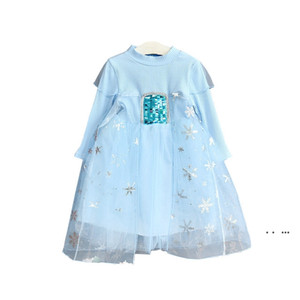 Children spring autumn clothes baby girls princess dress sequined girl snowflake tutu skirts EWD5204