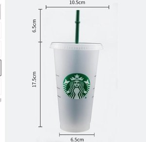 ستاربكس 24 أوقية / 710 ملليلتر البلاستيك بهلوان قابلة لإعادة الاستخدام شرب شرب مسطح أسفل كوب عمود شكل غطاء القش القدح العاردي اللون تغيير القدح فلاش كوب