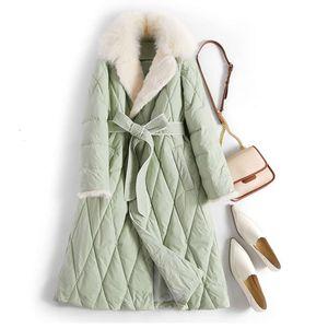 20212021 New Real Fox Winter Women 90% White Duck Down Coat Mink Fur Collar Female Long Feather Puffer Jacket Overcoat
