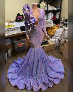 Laser Roxo vestido de noite sexy v vestido de festa de necks manga longa lantejoulas lante lante sereia vestidos de baile vestido robe de soiree vestido