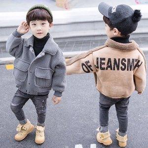 Garons daim veste hiver coupe-vent enfants vtements unisexe filles pais chaud laine manteau
