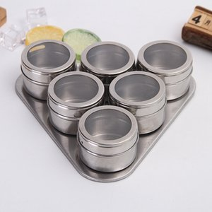 Magnetic Spices Storage Box Stainless Steel 6pcs set With Holder Triangle Shape for Home Kitchen Outdoor Barbecue EEB4985