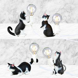 Seletti mini resina gato lâmpada lâmpada quarto sala de estar mesa lâmpadas de mesa luminárias luminárias de luminárias de animal mesa de cabeceira