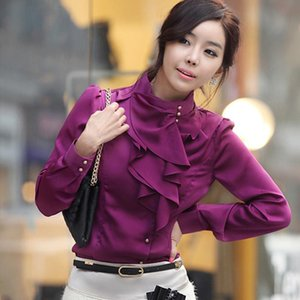 Womens Blouses Feminine Blouse Simulation Silk Bead Turtleneck Shirt Ruffles Blouse Women Slim Shirts Asian Size S-XXL