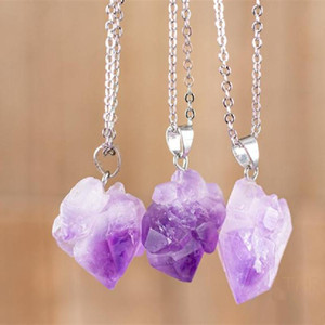 Purple Crystal Raw Crystal Necklace Birthstone Jewelry Healing And Stones Statement Gothic Pendant Witch Charm Women Gift New