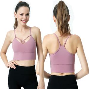 Wunderschöne Back Yoga Weste Frauen tragen dünne Schultergurte Sportunterwäsche Fitnesskleidung Stoßfest Habred Waxy BH