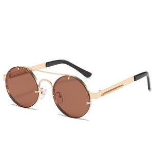 Lady cool uxury Europe and America Retro steampunk top quality glasses man round Frame sunglasses woman personality spring leg sunglasse glasse