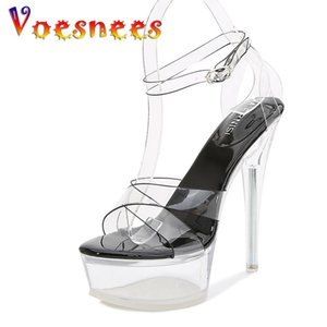 Voesnees Transparent Crystal Chaussures de mariage Plateforme Sandales Femmes Chaussures Super Heel14cm 2021 Nouvelle Arrivel Femelle Dance Dance