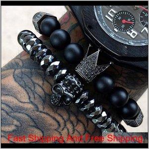 Bracelet McLlroy Hommes / Crâne / en acier / en pierre / Perles / de luxe / bracelets pour hommes Couronne CZ Zircon Homme Bracelet Homme bijoux Valentine Cadeau FVXGS 6YJ2W