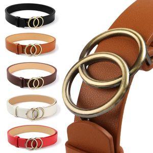 105CM Women Belts Leopard Soft Faux Leather Double Ring Buckle Waistband Vintage Decorative Tighten All-Match Long Ladies Belt