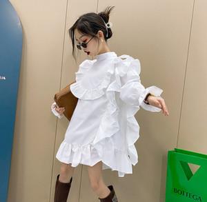 Big Girls Dentelle Robe Falbala 2021 Nouveaux Enfants Volants Housse à manches longues Lady Style Enfants Coton Falbala Design Robe 5-16T A5974