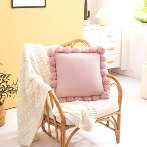 Ball Cushion Cover Vintage Yellow Ivory Pink Green Pillow Cover Knit 45cm*45cm Zip Open Home Decoration Sofa Bed CCD4873