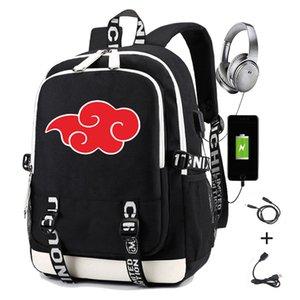 Naruto mochila para homens impressão akatsuki uchiha itachi sasuke uchih carregando usb mulheres laptop mochila viagem férias casuais Daypacks 210309