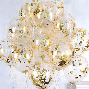 10pcs 12inch Gold Star Foil Confetti Balloons Clear Transparent Balloons Birthday party decor Baby Shower Wedding Party Decor