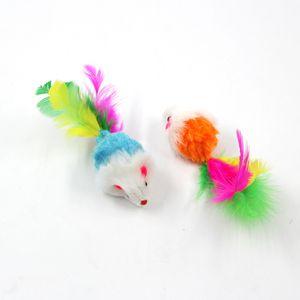 Красочные перо зерно маленькая мышь кошка игрушка для кошки перо смешно играет домашнее животное кошка маленькие животные перо игрушки котенок GGA4248