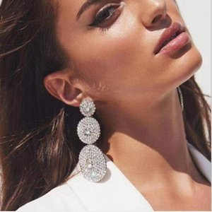 Multi-layer Round Diamond-studded Glass Diamond Rhinestone Full Diamonds Earrings Female Super Flash Super Fairy Stud Earrings Jewelry
