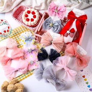 Accessori per capelli 3 PZ / Set Girls Carino Chiffon Filato Filato Arco Fornitura Bling Sequin Star Clip Barrettes dolce fascia moda moda