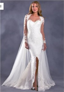 Elegant Lace Mermaid Wedding Dresses 2021 Sheer Long Sleeves Tulle Applique Split Court Train Plus Size Wedding Bridal Gowns With Cape