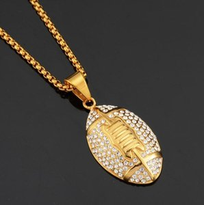 Fashion Unisex Pendant Necklaces Vintage Mens Gold Link Chain Titanium Steel Round Football Necklaces Jewelry Gift