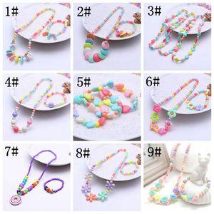 Pulsera del collar de la princesa de la niña con el colgante colorido niños del colgante de la joyería de la joyería del traje de la joyería favores de los favores de la joyería de la joyería KKA8344