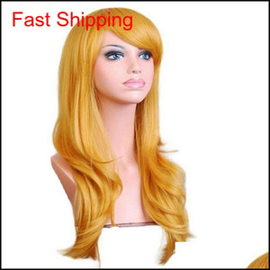 70cm Loose Wave Synthetic Wigs For Women Cosplay Wig Blonde Blue Red Pink Grey Purple Hair For Human Party For H qyleWG babyskirt