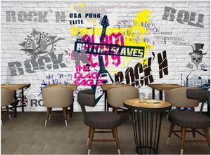 Custom photo wallpaper for walls 3 d murals wallpaper European and American pop rock music bar KTV background wall papers home decoration