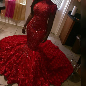 2021 Beads Red Prom Dresses Mermaid High Neck short Sleeves 3D Floral details Sweep Train Evening Gowns Plus Size Red Carpet Dresses