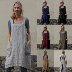 6 colors Hot selling 2021 Women cotton and hemp apron long Wai housewear loose long dress Summer Solid color Fashion Wide sling Dresses