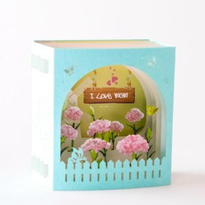Pop-Up Cards Carnation Flowers Greeting Cards for Mother's Day Teacher's Day Hollow Paper Carving Gifts Postcard DHB5292