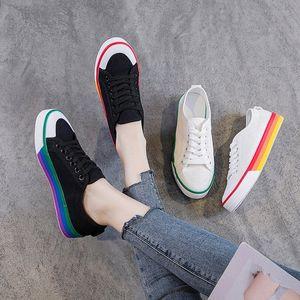 Zapatos de lona para mujer 2019 primavera otoño casual encaje encima de zapatillas negras para mujer zapatos blancos estudiantes zapatillas planas para mujer zapatillas de deporte A7ay #
