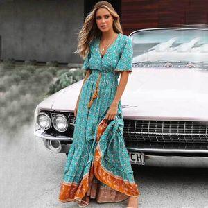 Boho ispirato Blus Floral Maxi Dress V-Neck Botton Down Pizzo Trim Molla Dress Summer Dress Nappa Tied Vita Lunga Donne Abiti 210302