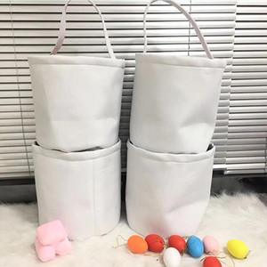 2021 Blank Sublimation Easter Bucket White DIY Easter Day Egg Storage Basket Lovely Candy Portable Bags Home Party fast ship