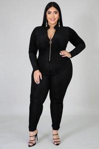 Women Black Striped Jumpsuit Zipper V Neck Long Sleeve Rompers Ladies Plus Size Jumpsuit