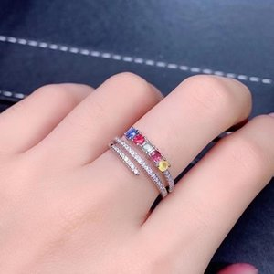 Cluster Rings Natural Sapphire With Colourful Ring Fine Jewelry Simple Round Thin For Women Gift