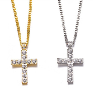 Classic Hip Hop Jewelry Iced Out Gold Silver Color Cuban Chains Rhinestone Cross Pendants Necklace for Men Free Shipping 248 R2