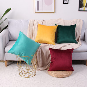 Velvet Pillow Case Cushion Cover Soft Solid Square Decorative Pillow Covers Sofa Cushion Throw Pillow 45x45cm w-00697