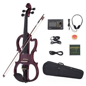 Ammoon VE-201 Dimensioni full 4/4 in legno massello silenzioso violino elettrico violino violino corpo in acero ebano tastiera pneumatici mento ripiani cordiera