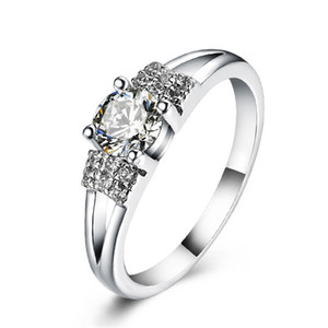 HBP fashion luxury classic simple four claw simulation diamond heart eight arrow super flash proposal ring