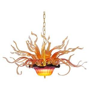 Lampes lustre coloré LED lumières de pendentif modernes 32 sur 20 pouces brillante suspension lampe de flamme suspendu salon salle à manger en verre fleur lampe villa