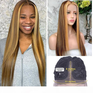 28 30 Inch Lace Front Wig Highlight Human Hair Wigs Peruvian Straght 180% Remy 13x6 Transparent Lace Frontal Hd Honey Blonde Wig