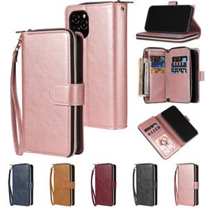 Business Multi-functional Magnetic Folio Leather Zipper Wallet Case for Samsung Note20 Ultra S20 FE 5G S9 S8 S10 Note10lite A01 A11 A81 A91